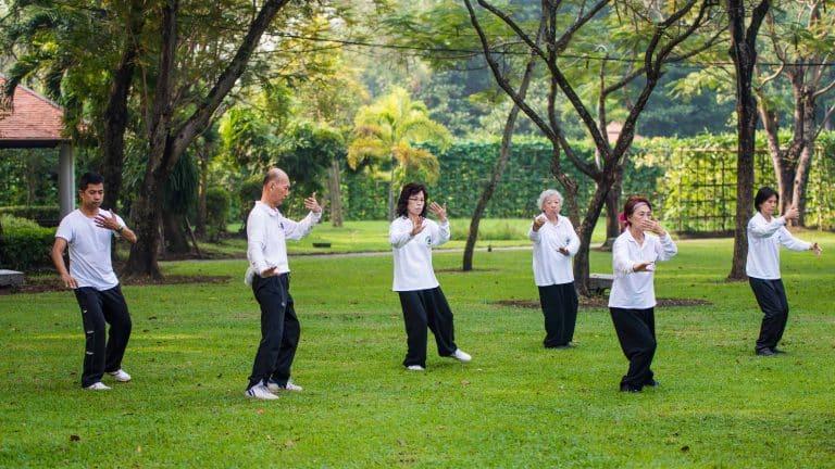groupe de personnes faisant du tai chi pour la gym douce